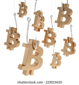 Many symbols bitcoin of gold on fishing hooks isolated on white background.