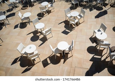 Many tables and chairs from above
