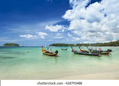 Many taxi boat parking  at Kata beach  ,Phuket,Thailand