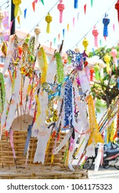 """Many of Thai northern paper flags or """"Tung"""" decorated on sand dune for celebration in Thai new year or Songkran festival at Chiang Mai, Thailand."""