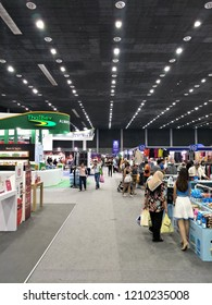Many Thai people walking and shopping at a fair in the event hall.Oct 23,2018 : Chiang Mai, Thailand.