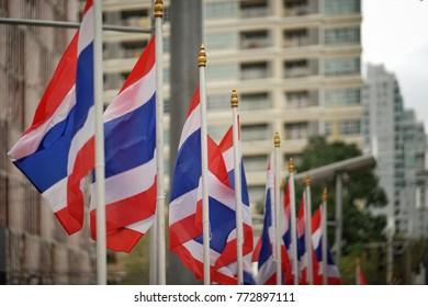 many Thailand flag at Bangkok,Thailand