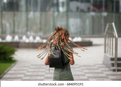 Many thin afro pigtails on the head of the  girl with back hair. Girl with many plaits outdoor