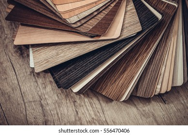 many thin wooden samples for interior design. toned image