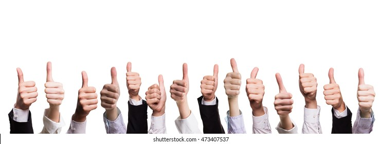 many thumbs up isolated on white