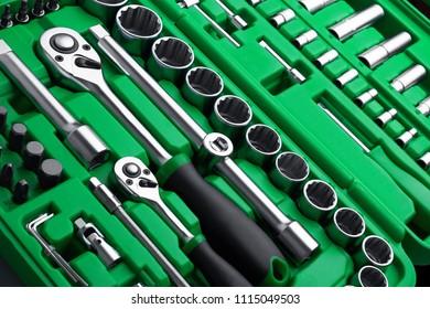 Many Tools in tool box, closeup