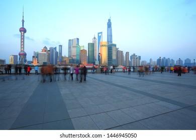 Many tourists are enjoying the night scene in the Bund, Shanghai