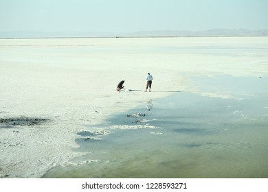 Many tourists are visiting the Salt Lake(In Turkish:Tuz Golu) /TURKEY 22.09.2018