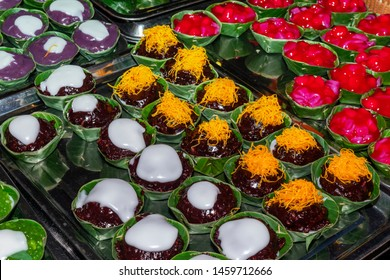 Many traditional Thai sweet desserts in banana leaf cup, Popular Thai snack that hard to find.