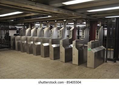 Many turnstile in Manhattan subway station