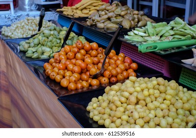 Many types of fruits at Thai market that Thai people eat everyday.
