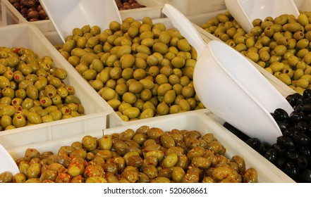 many types of olives for sale at the stall in southern Italy