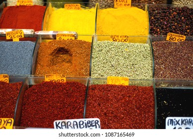 many types of pepper and other spices in containers like vases in Grand Bazaar, Istanbul, Turkey
