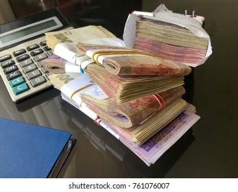 Many Ukrainian money hryvnia