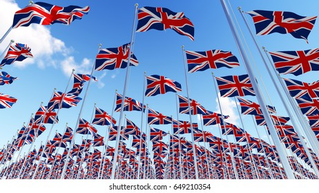 Many United Kingdom flags waving in the wind in blue sky. Three dimensional rendering illustration.