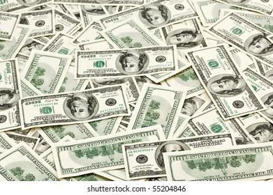 Many US 100 dollars, business background