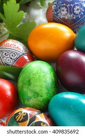 many various colorful easter eggs vertical background