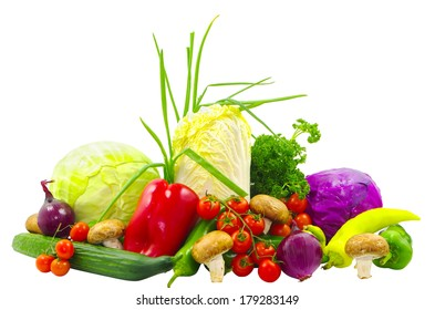 Many vegetables isolated on white background