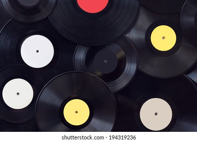 Many vinyl disks, musical abstract background