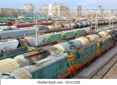 Many wagons on city cargo terminal