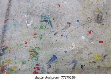 many water colors on the floor