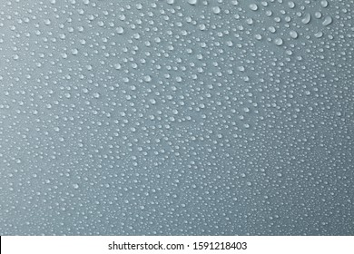 Many water drops on grey background. Texture background, close up