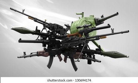 many weapon/arsenal on light background