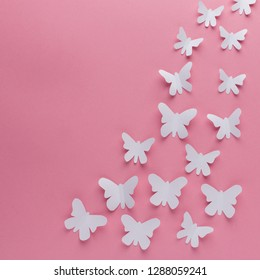 Many white butterflies of paper on pink background