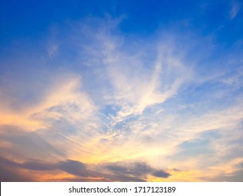 Many white clouds in the blue sky.The weather is clear today.sunset in the clouds.The sky is twilight