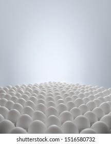 many white eggs on light blue background, incubator concept