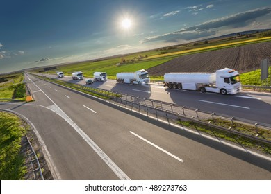 Many white gasoline tanker trucks in a row driving towards the sun. Fast delivery on the freeway at beautiful idyllic day. Freight scene on the motorway near Belgrade, Serbia.