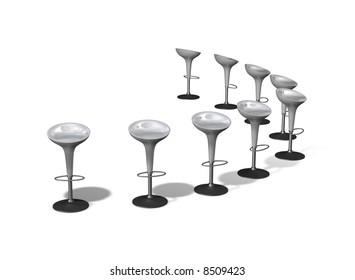 Many white plastic seats in a semi-circle arrangement