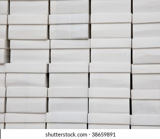 Many white shoe boxes