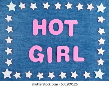 Many white stars placed in rectangle, in the middle the words Hot Girl