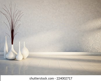 many white vases on the white floor