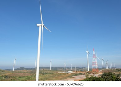 many wind turbine on mountain in thailand
