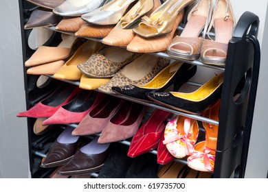 Many woman shoes ant home