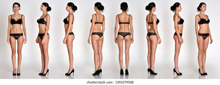 Many women figures  full lengh from all angles in black underwear in studio with grey background. Not object.