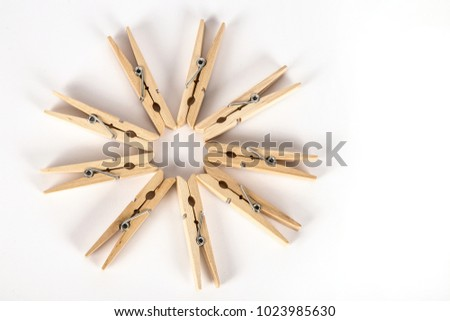 Many Wooden Clothespins Lie Form Round Stock Photo Edit Now