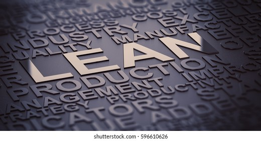 Many words over black background with reflection and blur effect, focus on the words lean and production. 3D illustration of production management.