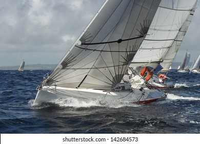 many yacht sailing in race