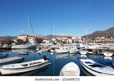 Many yachts in the bay of Tivat on a sunny day, Montenegro