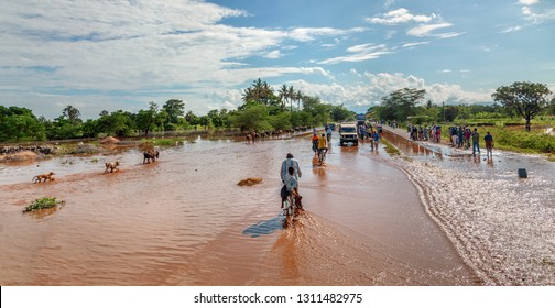 MANYARA, TANZANIA - NOVEMBER 28, 2011: The catastrophic debris flow destroyed a road between national parks Manyara and Ngorongoro. Car traffic was restored on the same day, Tanzania, East Africa