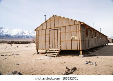 Manzanar Detention Center Barracks where Japanese-Americans were held captive during World War II.