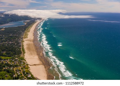 MANZANITA, OREGON, USA - JULY 18, 2009: Aerial view of Manzanita Beach and Pacific Ocean surf on Oregon coast.