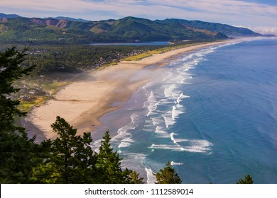 MANZANITA, OREGON, USA - JULY 18, 2009: Aerial of Manzanita Beach and Pacific Ocean surf on Oregon coast.