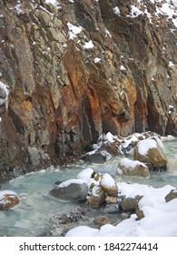 Manzano Sorafuki tourist spot, Thermal Sulphur mountain river, steam rising from hot volcanic water, winter in Manza Onsen, Gunma