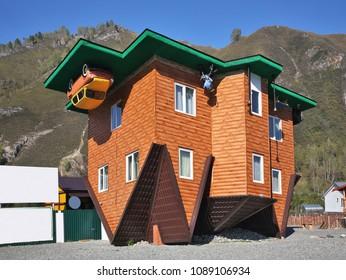 MANZHEROK. ALTAI  REPUBLIC. RUSSIA. 27 SEPTEMBER 2016 : Inverted house in Manzherok village. Altai Republic. Russia