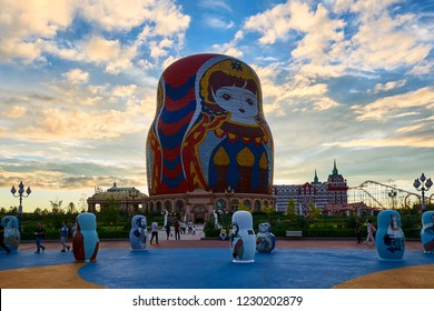 Manzhouli , China - July 19, 2018: All sorts of modelling Russian nesting dolls placed in matryoshka doll square of Manzhouli city. It is for people to visit.
