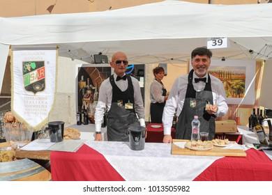 MANZIANA, LAZIO, ITALY - OCTOBER 14, 2017: Italian wine and food degustation at the chestnut festival.